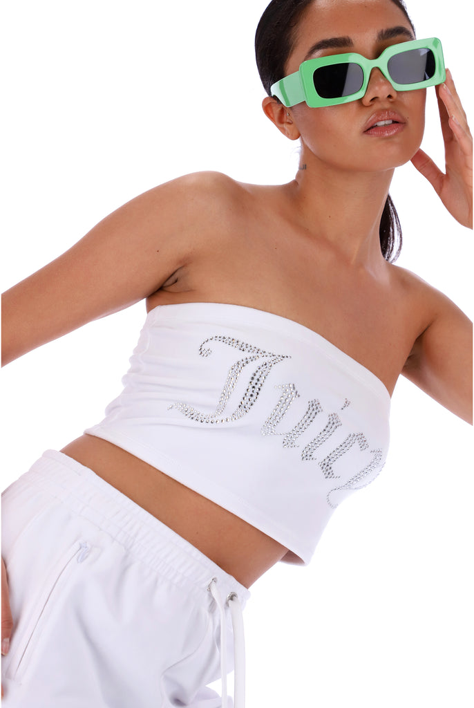 WHITE VELOUR DIAMANTE BANDEAU