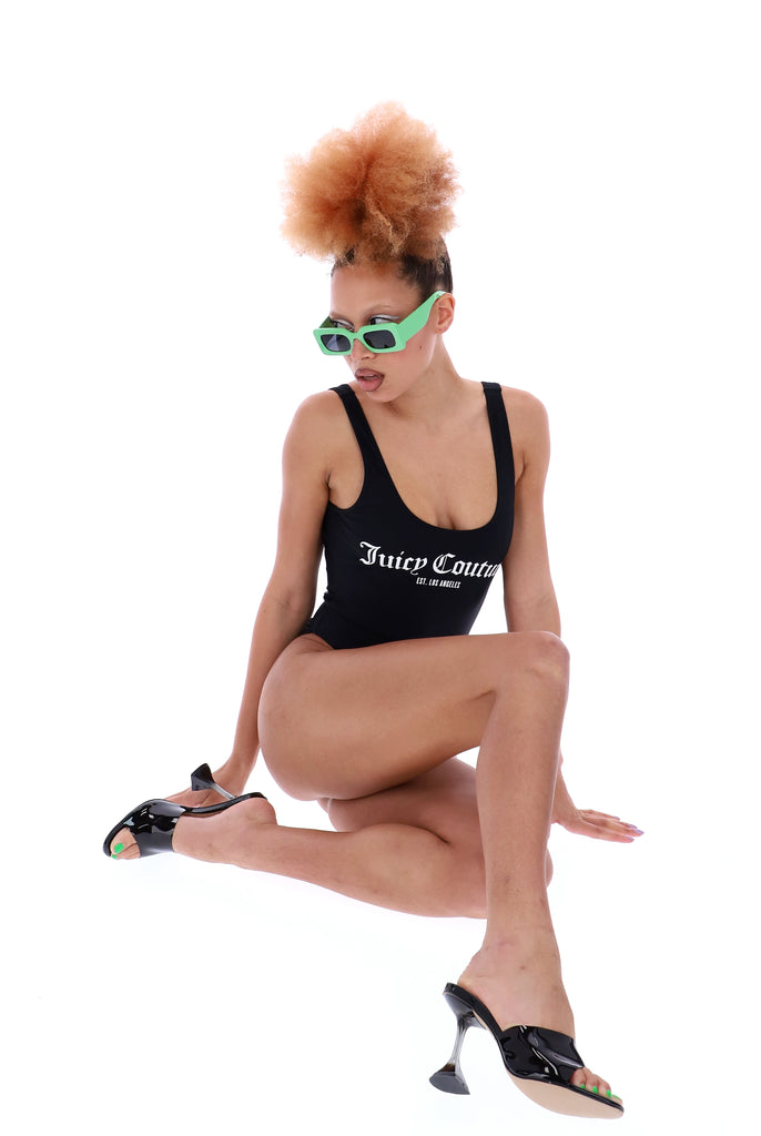BLACK LA LOGO SCOOP BACK SWIMSUIT