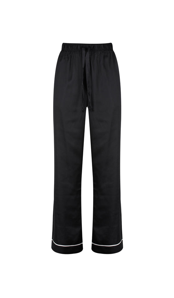 Black Satin Pyjama Trousers