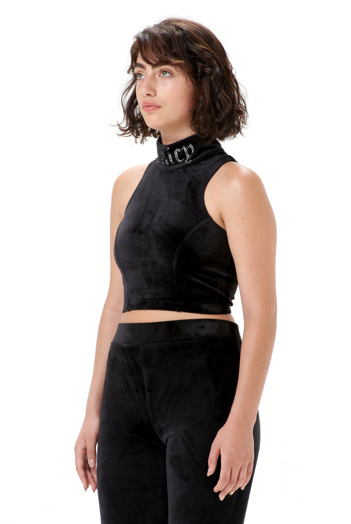 Racer Velour Diamante Crop