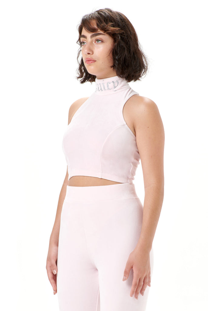 Almond Blossom Racer Velour Diamante Crop