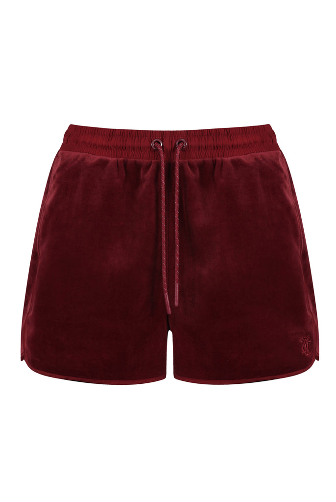 Velour & Satin Twill Blocked Racer Shorts