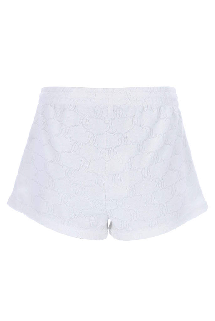 WHITE MONOGRAM JACQUARD TERRY TOWELLING TRACK SHORTS