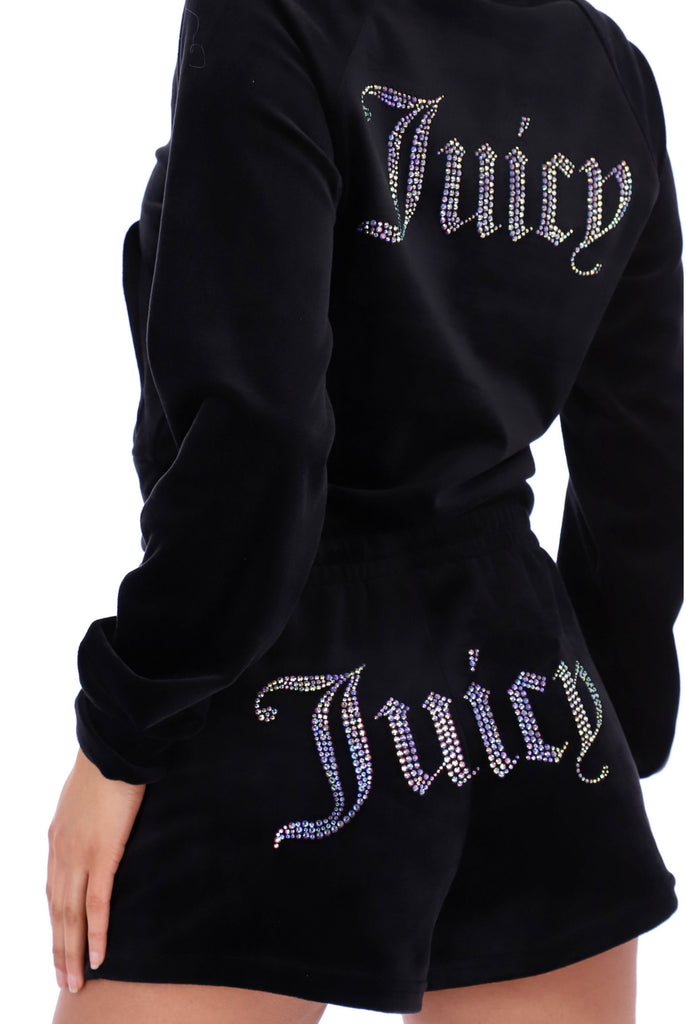BLACK VELOUR DIAMANTE TRACK SHORTS