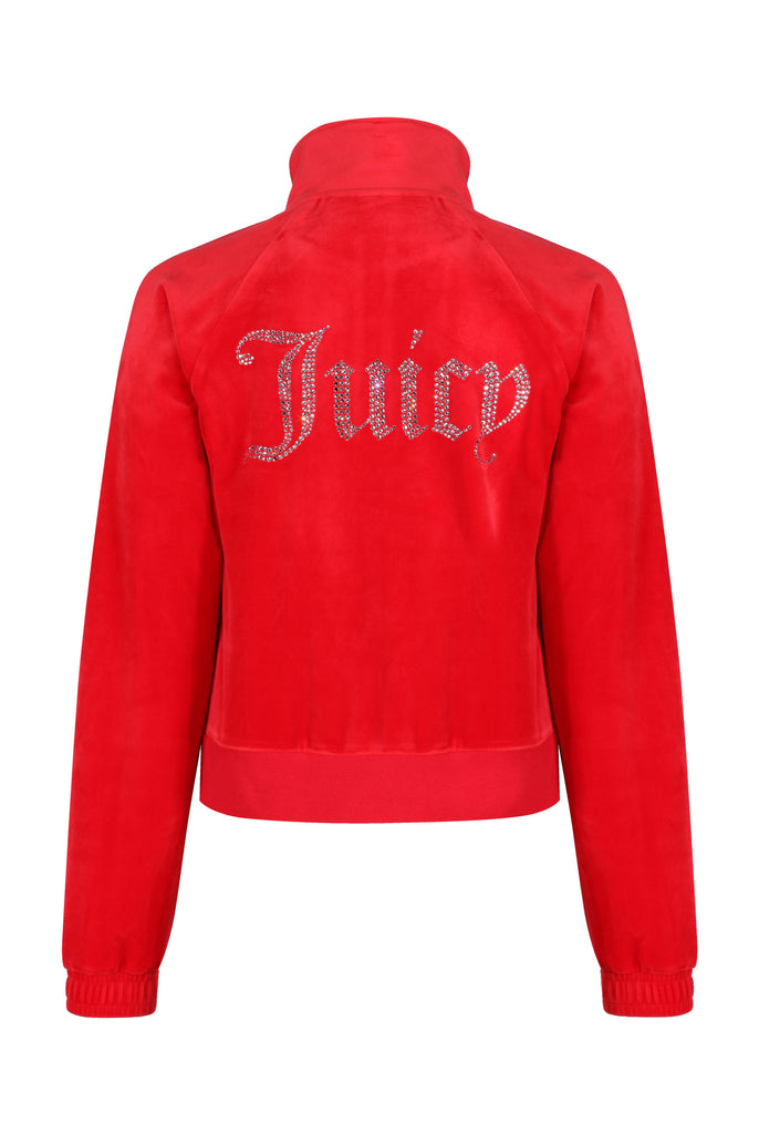 GOJI BERRY VELOUR DIAMANTE TRACK TOP