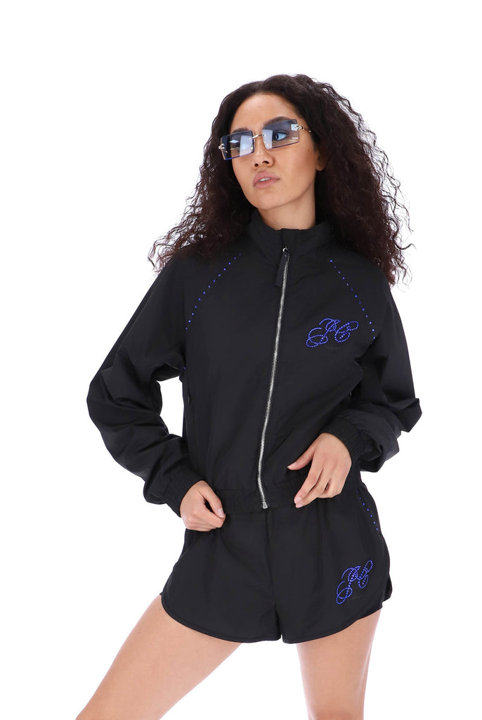 BLACK DIAMANTE LIGHTWEIGHT TRACK JACKET