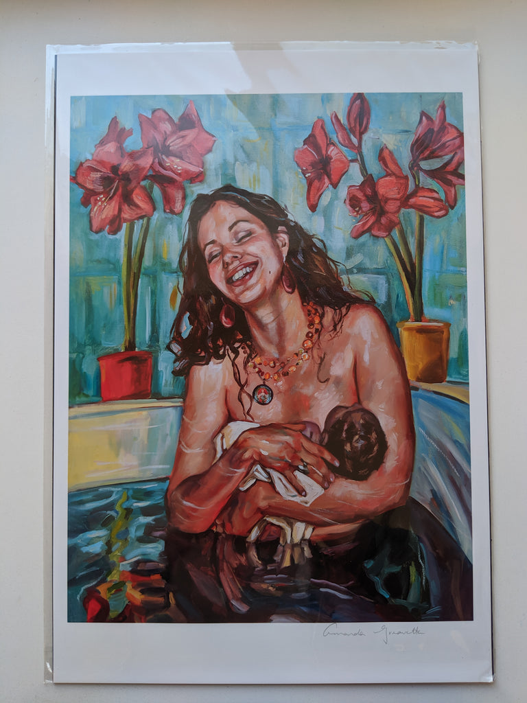 Birth Art Print - All Around Me - Labouring tub mosaic waterbirth