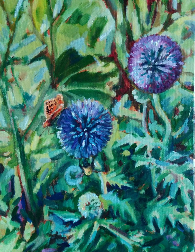 Original Oil Painting - Globe Thistles