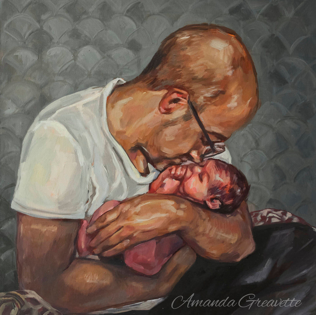 Birth Art Print - Scent of Love - father and child