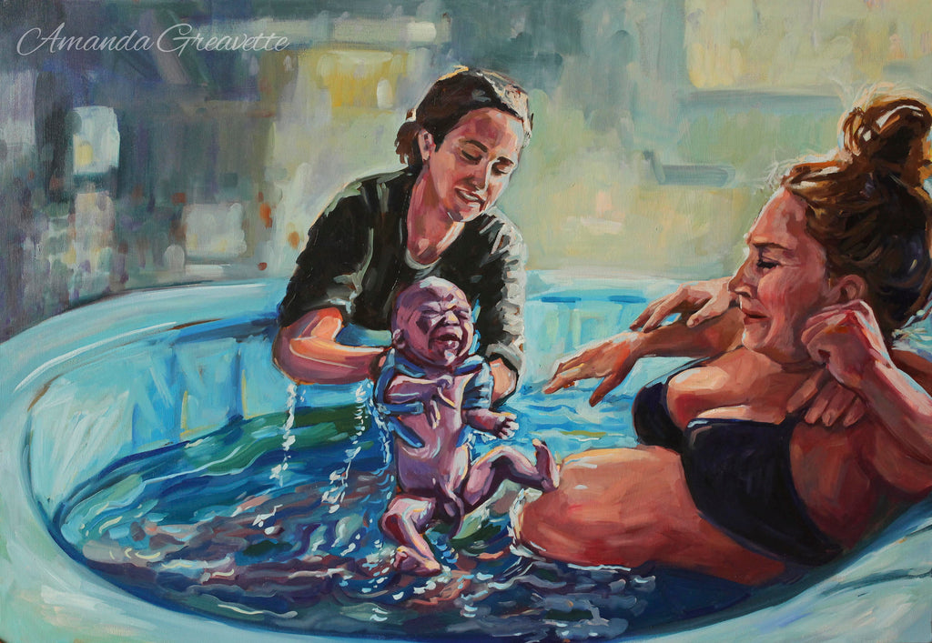 Birth Art Print - Here is your baby - waterbirth