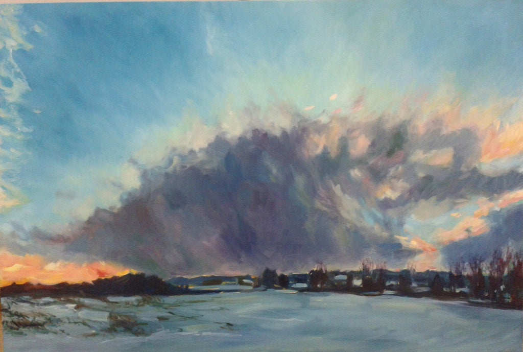 Original Oil Painting - Winter Landscape/Storm/Cloud