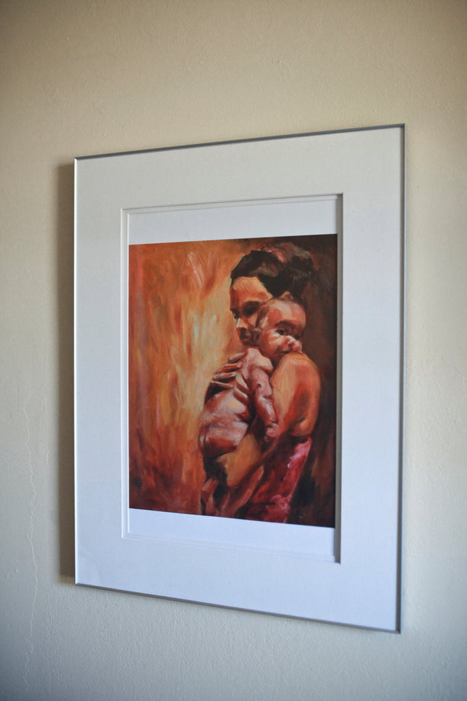 Birth Art Print - Evangeline - mother and baby