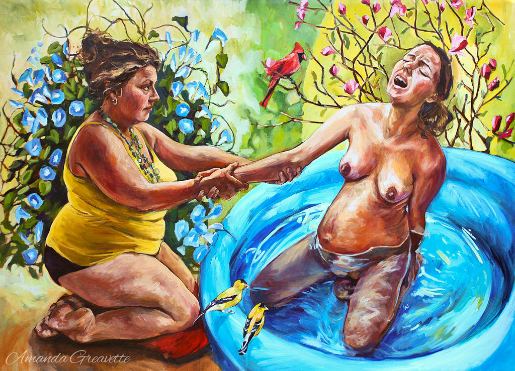Original Oil Painting - Three Little Birds - Water Birth doula midwife