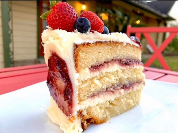 White Chocolate Raspberry Cake Slice
