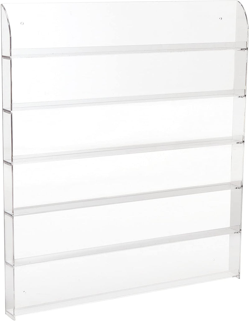 LUX 6 Shelf Pro Clear Acrylic Nail Polish Rack/Salon Wall Mounted Organizer Display. 102 Bottles