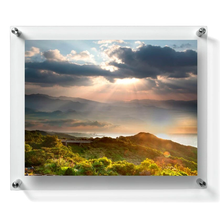 "Load image into Gallery viewer, LUX 11X14"" DOUBLE PANEL PHOTO FLOATING ACRYLIC CLEAR FRAME FOR CERTIFICATION AND DIPLOMA(FRAME SIZE 15X18"")"