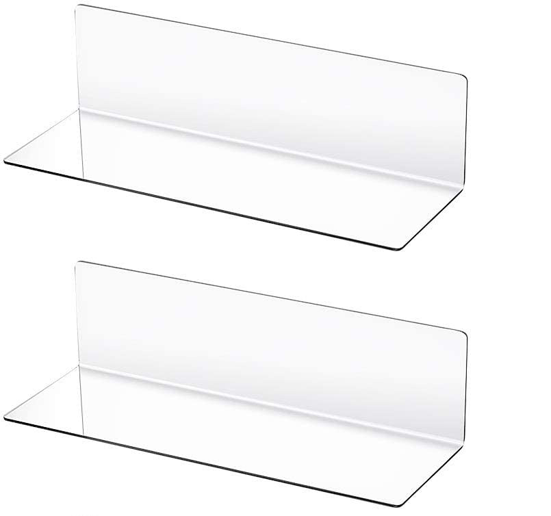 LUX 8 Pieces Acrylic Floating Shelves, 12 Inch Acrylic Wall Mounted Hanging Shelf for Home, Salon, Bedroom, Living Room, Bathroom, Office (Clear)
