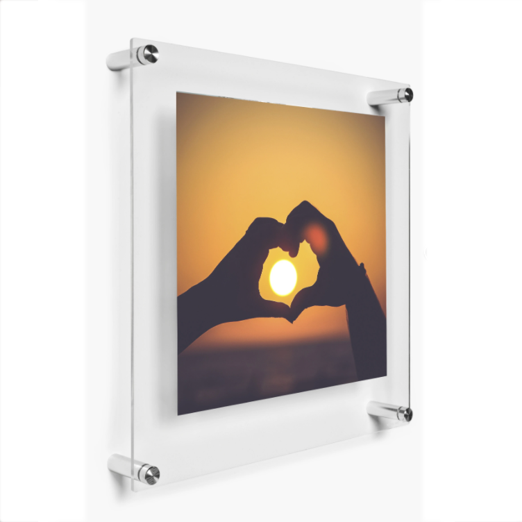 "LUX 20X20"" DOUBLE PANEL PHOTO FLOATING ACRYLIC CLEAR PICTURE FRAME (FRAME SIZE 23X23"")"