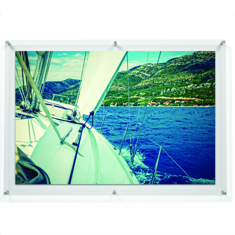 "LUX 24X36"" DOUBLE PANEL PHOTO FLOATING ACRYLIC CLEAR PICTURE FRAME (FRAME SIZE 28X40"")"