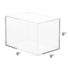 "Load image into Gallery viewer, LUX 5 Sided High Quality Acrylic Display Box 6""H x 6""W x 9""L, Thickness 3/16 (4.76mm)"