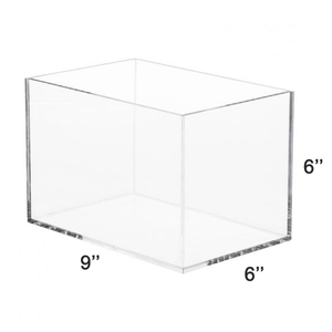 "LUX 5 Sided High Quality Acrylic Display Box 6""H x 6""W x 9""L, Thickness 3/16 (4.76mm)"