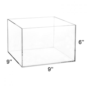 "LUX 5 Sided High Quality Acrylic Display Box 6""H x 9""W x 9""L, Thickness 3/16 (4.76mm)"