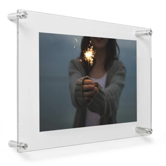 "LUX 8X10"" DOUBLE PANEL PHOTO FLOATING ACRYLIC CLEAR PICTURE FRAME (FRAME SIZE 12X15"")"