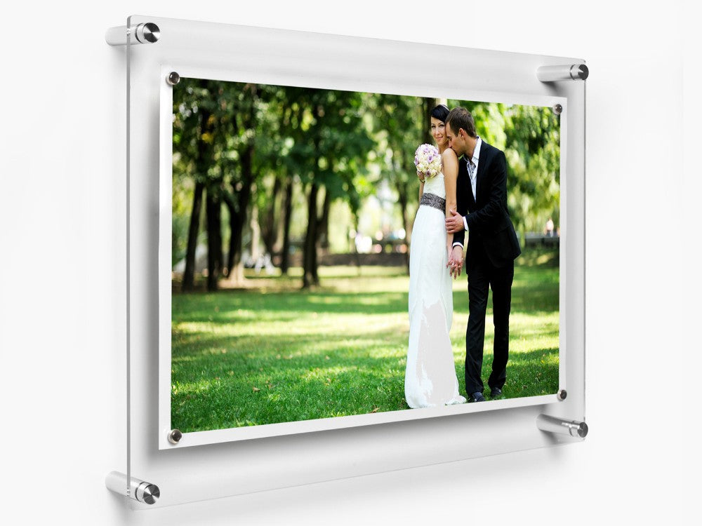 LUX Standoff Floating Acrylic Photo Art Frame (Photo size 12x24''/ Frame size 15x27'')