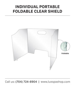 Fold Able Acrylic Sneeze Guard/Shield with Pass Through for Schools, Restaurant, Grocery Stores, Salons, & Retailers