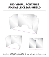 Load image into Gallery viewer, Fold Able Acrylic Sneeze Guard/Shield with Pass Through for Schools, Restaurant, Grocery Stores, Salons, & Retailers