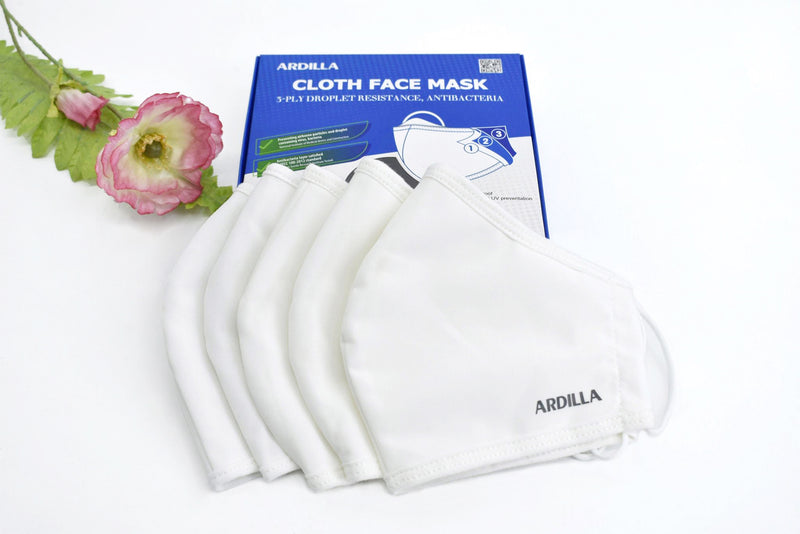 5pcs Comfortable Reusable & Washable 3-Ply Cotton Face Mask - Water Proof