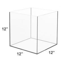 Load image into Gallery viewer, LUX High Quality Acrylic 5 Sided Display Cube Box 12x12x12 inch, thickness 3/16 inch