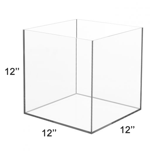 LUX High Quality Acrylic 5 Sided Display Cube Box 12x12x12 inch, thickness 3/16 inch