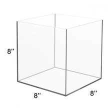 Load image into Gallery viewer, LUX High Quality Acrylic 5 Sided Display Cube Box 8x8x8 inch, thickness 1/8 inch