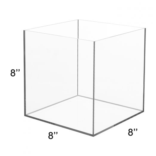 LUX High Quality Acrylic 5 Sided Display Cube Box 8x8x8 inch, thickness 1/8 inch