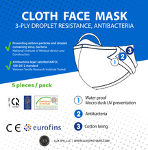 Load image into Gallery viewer, 5pcs Comfortable Reusable & Washable 3-Ply Cotton Face Mask - Water Proof