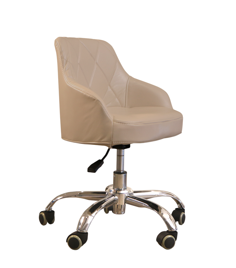 LUX ES450 Pedicure Technician Stool - Pearl White and Modern Grey