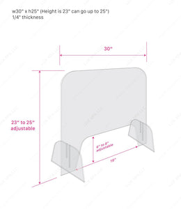"Adjustable Height Table Shield for Nail Salon and Retailers ~1/4"" thickness ~version 2.0"