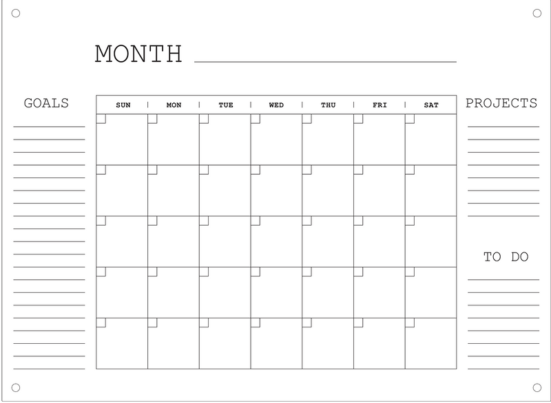 Personalize-able Erasable Standoff Calendar Board - Wooden Board with Acrylic Overlay - Best for Offices & Schools