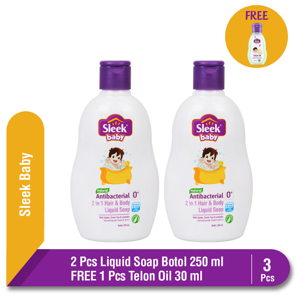 Sleek Baby Antibacterial 2 in 1 Hair & Body Liquid Soap Botol 2 x 250 ml FREE Sleek Baby Telon Oil 30 ml
