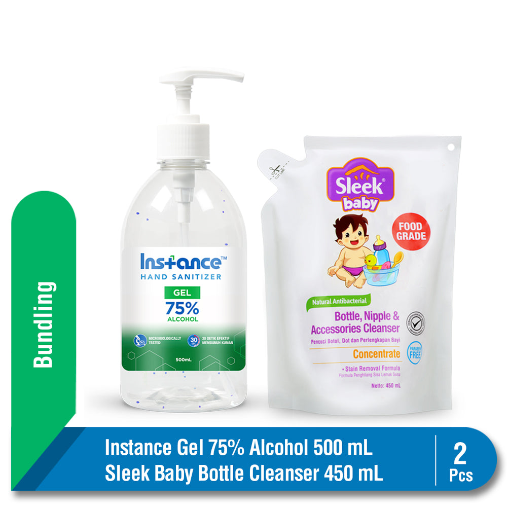 Bundling Instance Hand Sanitizer 500 ml + Sleek Baby Pembersih Botol Bayi 450 ml