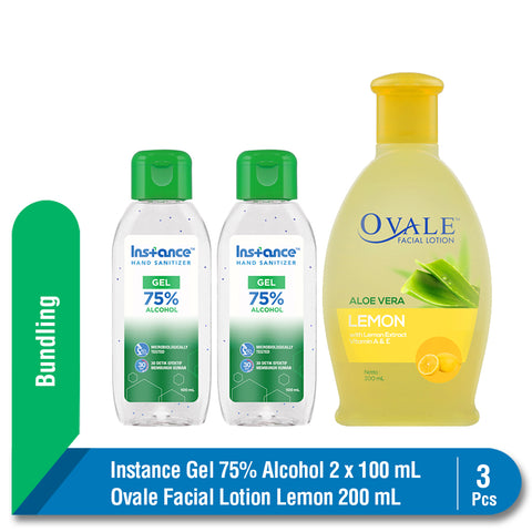 Bundling Instance Hand Sanitizer 2 x 100 ml + Ovale Facial Lotion Lemon 200 ml