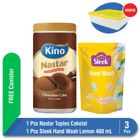 Bundling Nastar Toples Cokelat + Sleek Hand Wash Lemon Pouch 400 ml FREE Canister