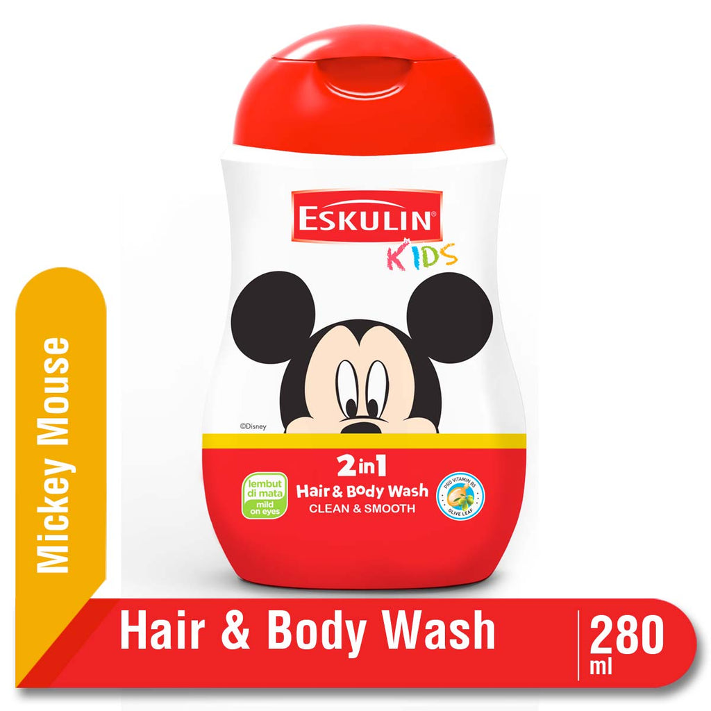 Eskulin Kids Hair Body Wash Clean & Smooth Botol 280ml