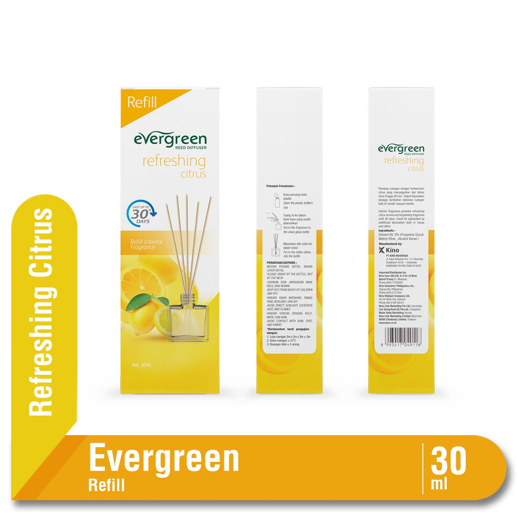 Evergreen Reed Diffuser Reffil Refreshing Citrus 30 ml