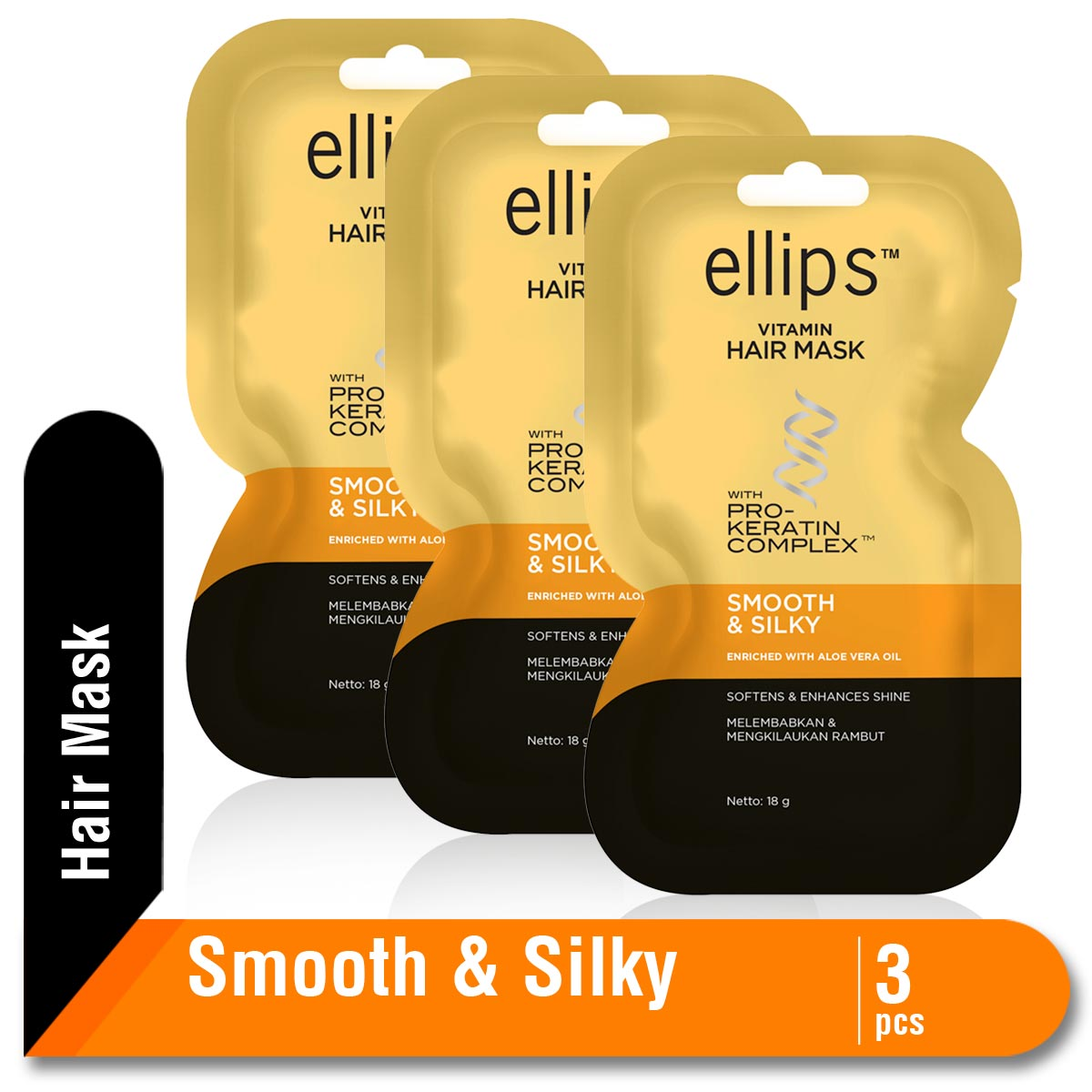 Ellips Hair Mask Keratin Smooth & Silky 18 gr Multipack 3pcs