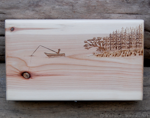Knot Fishing Woodburning on Western Red Cedar