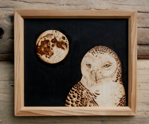 Snowy Owl & Moon Woodburning