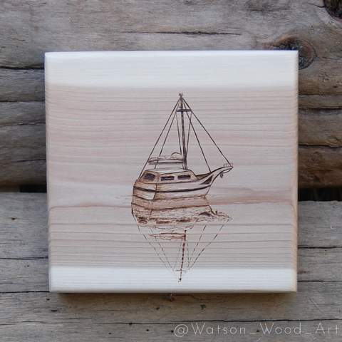 Sailboat Woodburning on Cedar