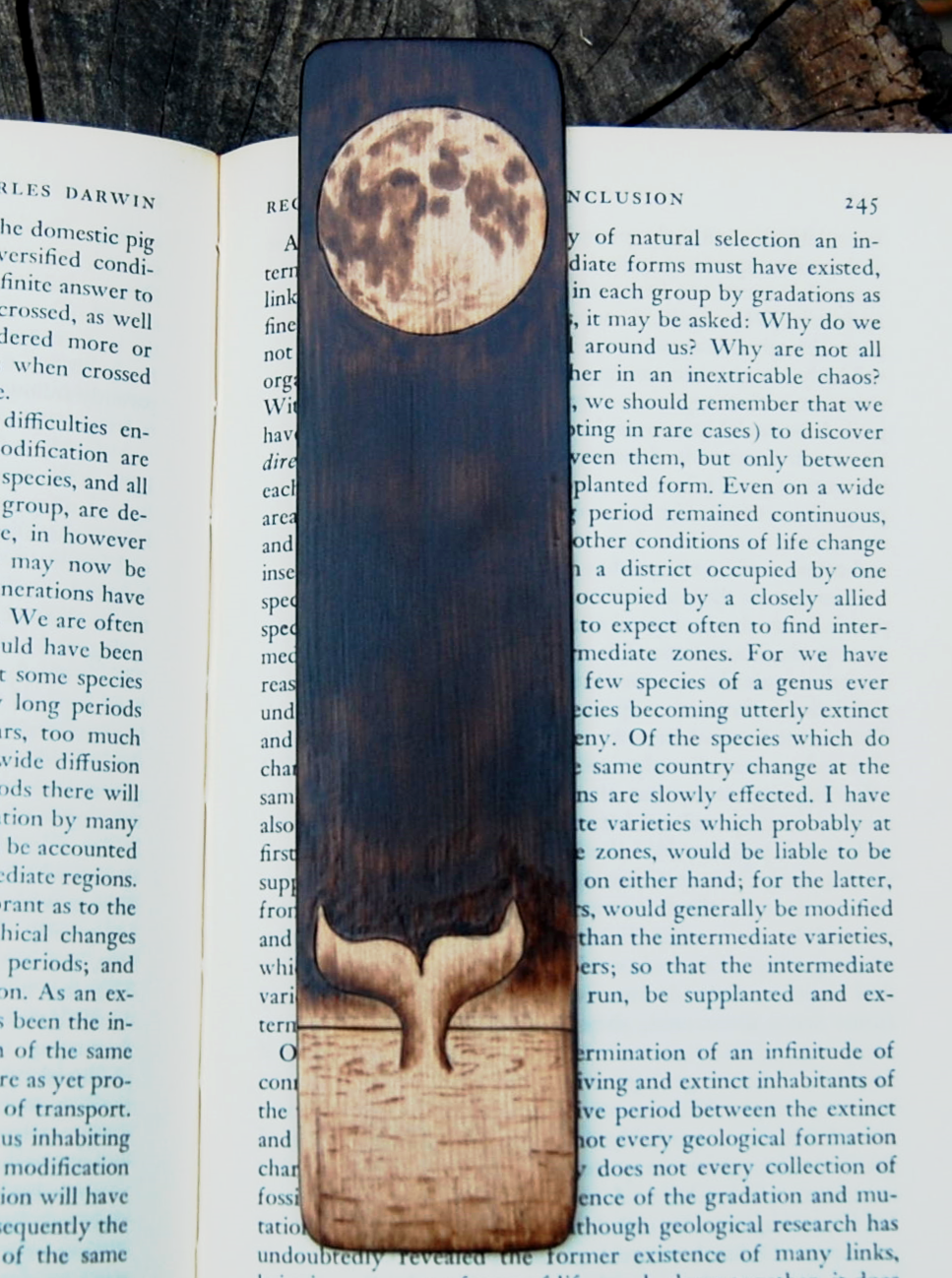 Whale Tail Bookmark made from Recycled Wood